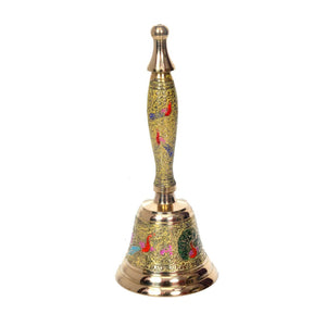 Decorative Hand Held Brass Bell | Yellow Color
