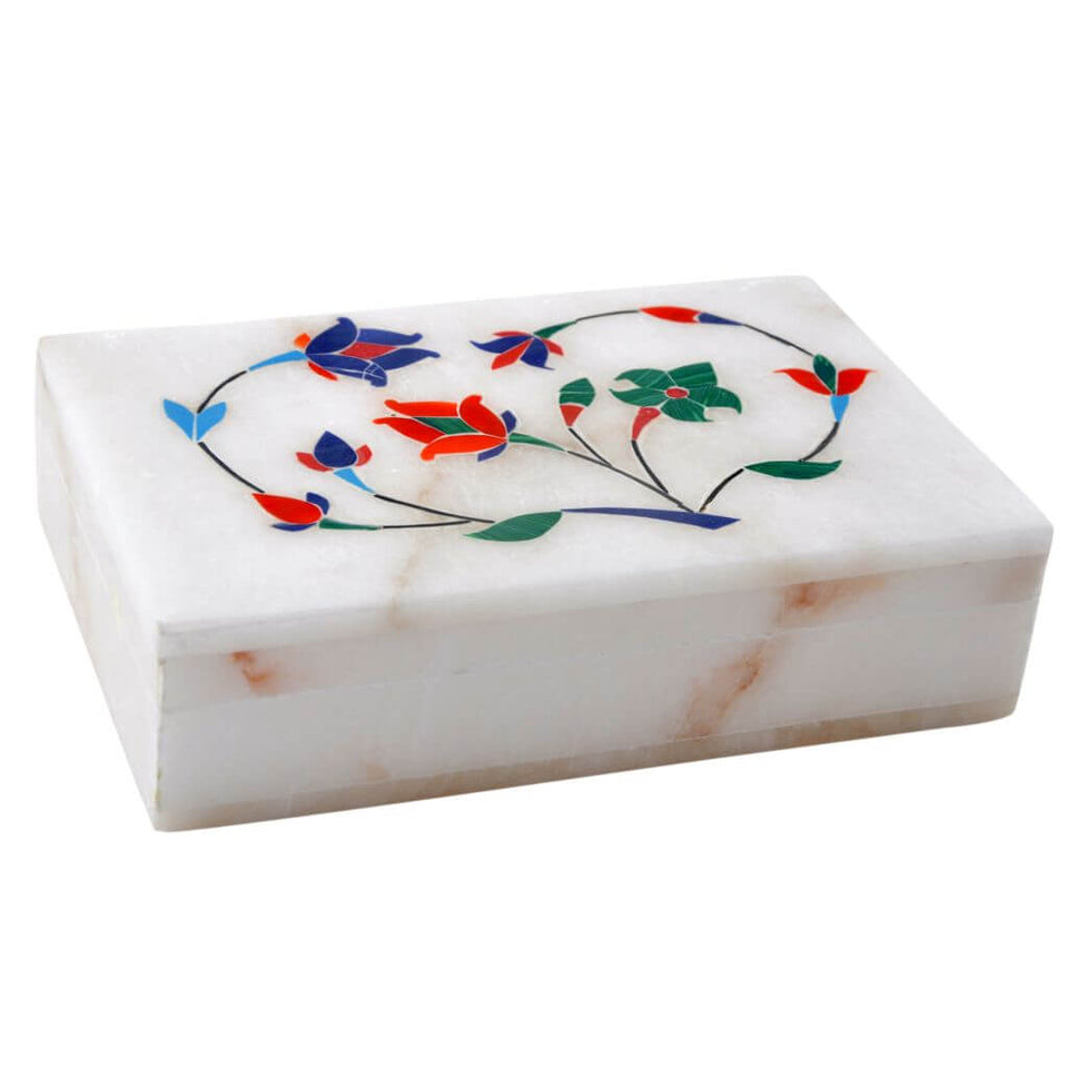 White Marble Hand Painted Jewellery Box (6x4 Inch)