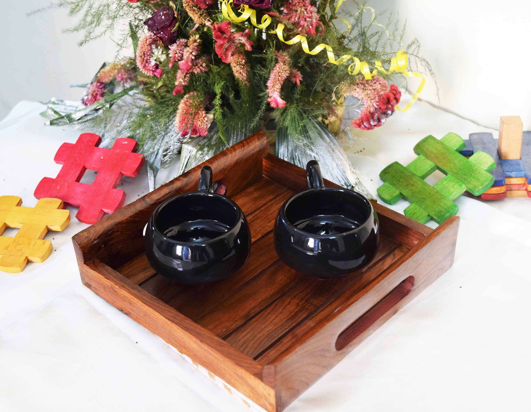 Handcrafted Wooden Tray For Dining Table (8x8) Inch