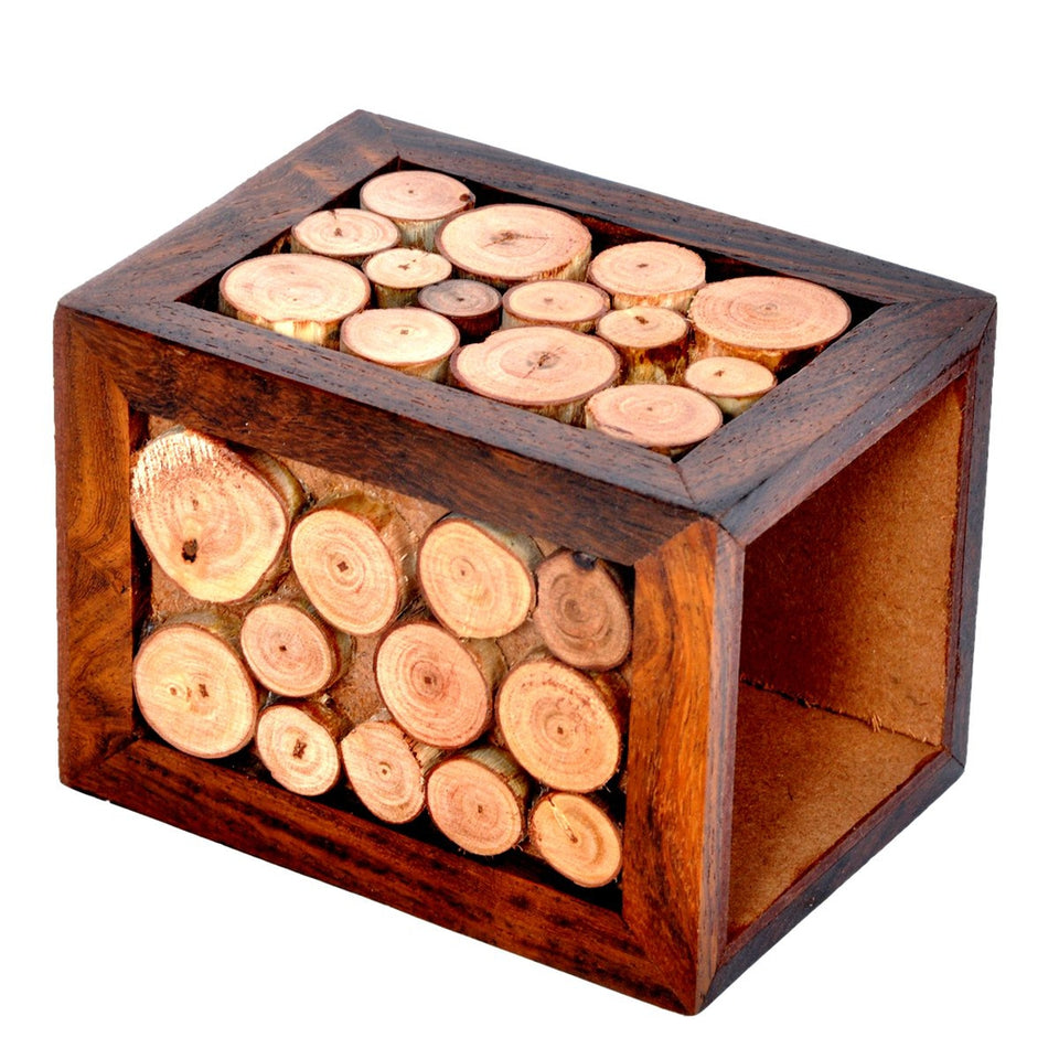 Decorative Design Wooden Pen/ Pencil Holder (3x3 Inch)