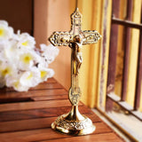 Antique Finish Brass Cross Jesus Christ Statue (6 Inch)