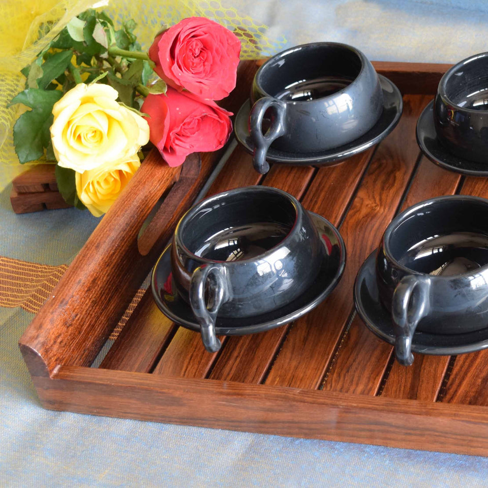 Buy Handmade Wooden Tray Online For Kitchen (15x12.5) Inch