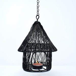 Handcrafted Metal Hut Tealight Candle Holder
