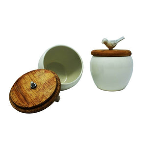 Non-Ceramic with Wooden lid Bowl/Fruit Bowl (Set of 2)