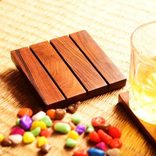 Sheesham Wood Coaster For Dining Table (5x5 Inch)