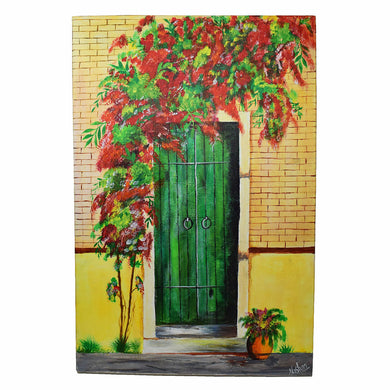 Handmade One of A Kind Gate Painting Made by Using Acrylic Colors on Canvas with Wooden Frame - 24 x 16 Inch