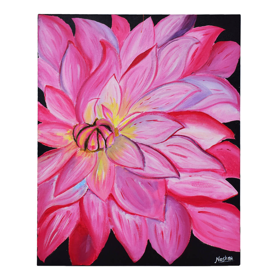 Handmade Flower Painting Made by Using Acrylic Color On Wooden Canvas Frame - 20 x 16 Inch