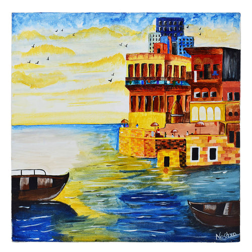 Handmade One of a Kind Banaras Ghat Painting Made Using Acrylic Colors On Wooden Canvas Frame - 16 x 16 Inch