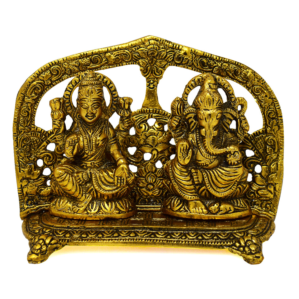 Antique Gold Plated Laxmi Ganesh Statue For Puja
