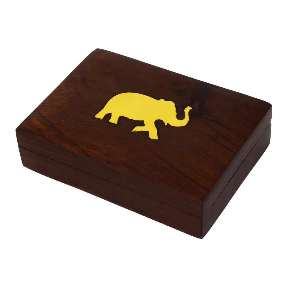 Elephant shape brass inlay Wooden Box Case/CARD BOX