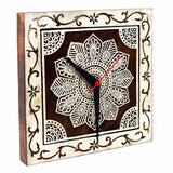 Handcarved Wooden Wall Clock with Sweep (Silent) Movement (8 Inch)