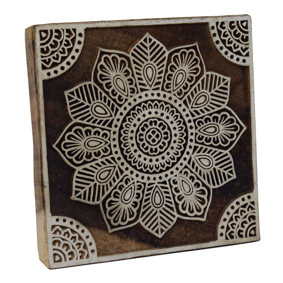 Hand-Carved Wooden Printing Stamp Block