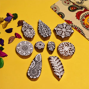 Hand Carved Designer Wooden Printing Blocks (Set of 9)