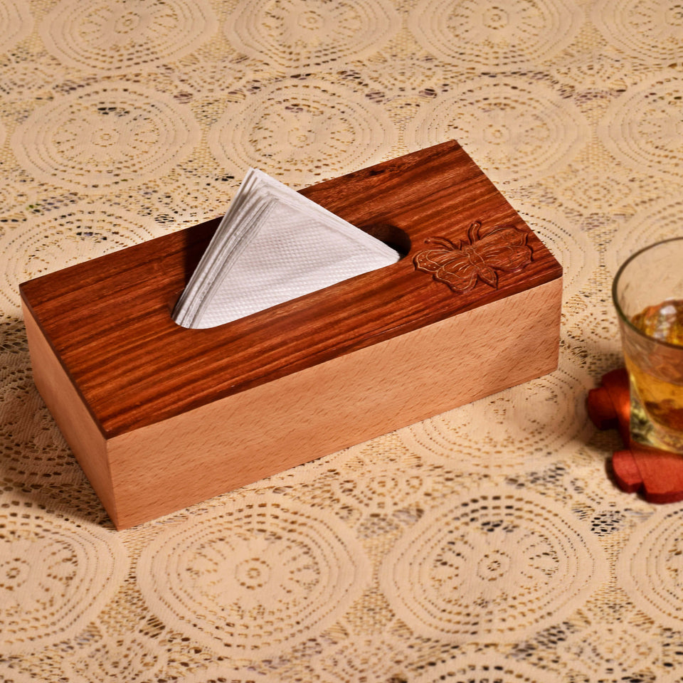Designer Butterfly Carved Beach Wood Tissue Box Holder