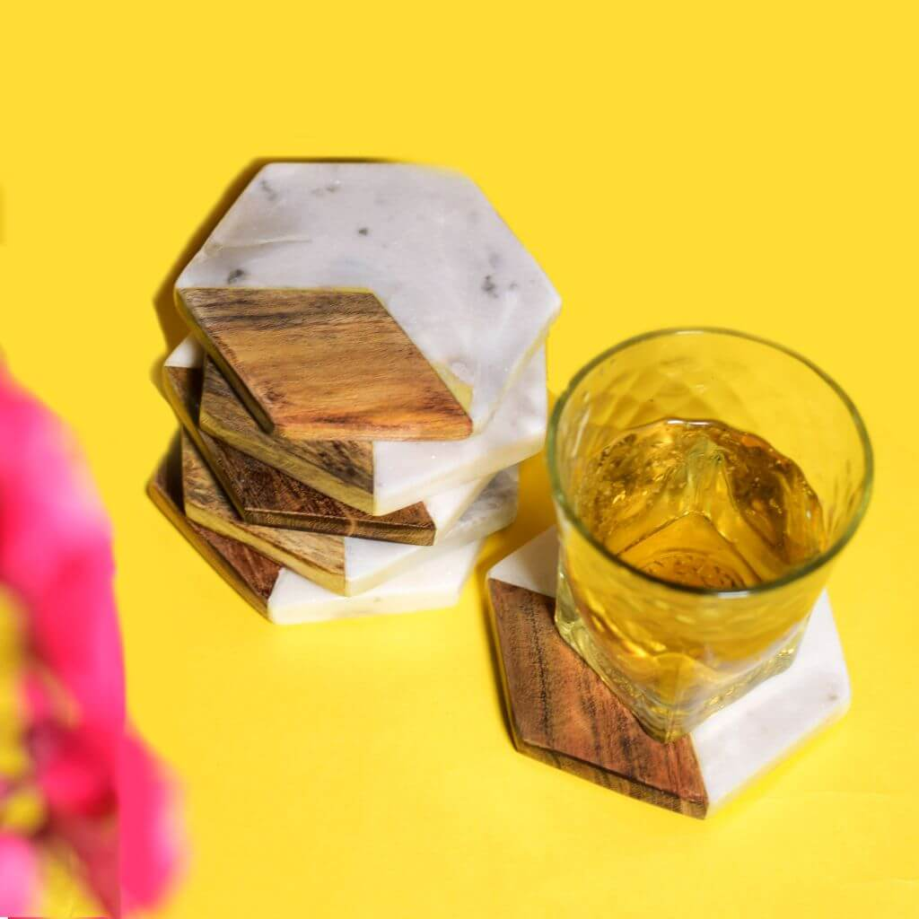 Stone & Wood Combination Hexagonal Coasters