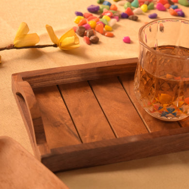 Sheesham Wood Handcrafted Wooden Serving Tray (13x6 inch)