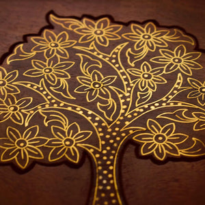 Wooden Carved Jewellery Box With Brass Inlay Work