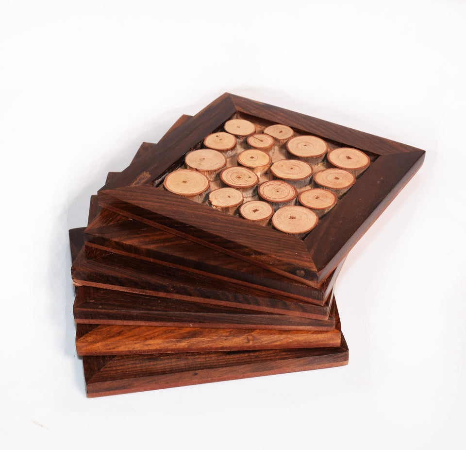 Tree Slices Sheesham Wood Coasters | 4x4 inch