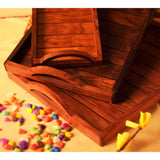 Handmade Sheesham Wooden Tray Set (Set of 3)