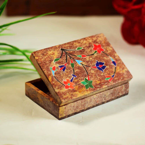 Colorful Marble Jewelry Box With Inlay Work (6x4 Inch)