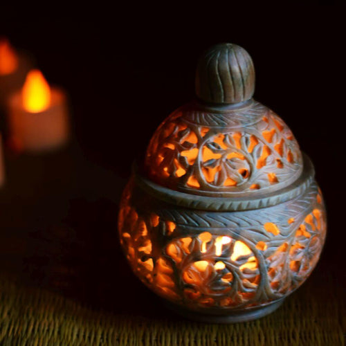 Handcrafted Soapstone Tealight Candle Holder