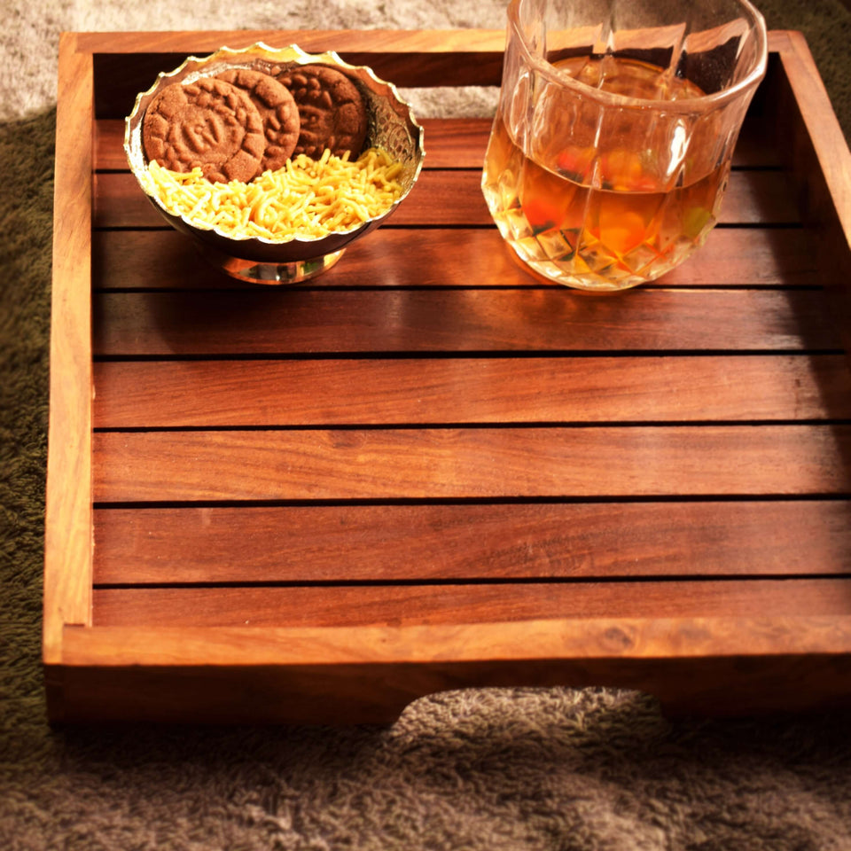 Buy Sheesham Wood Handmade Tray Online For Kitchen (11x11) Inch