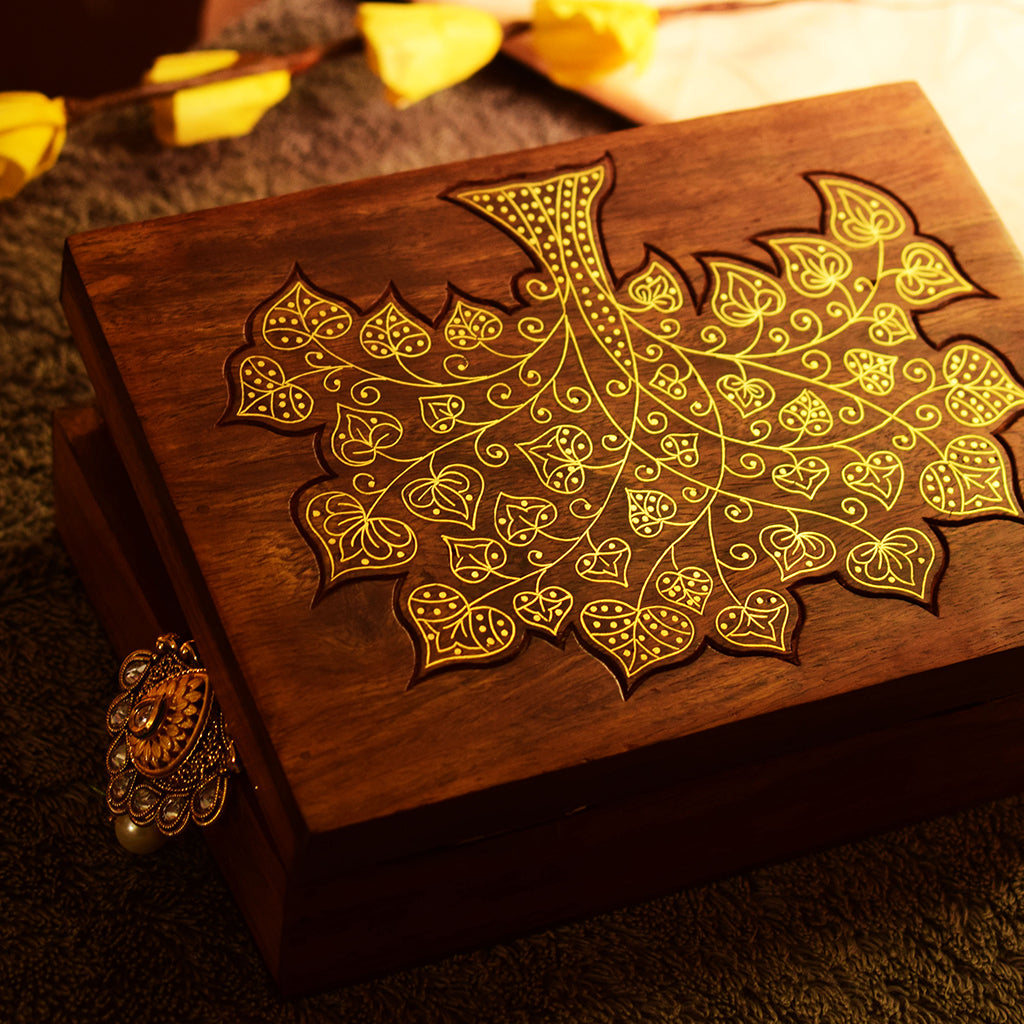 Handmade Wooden Carved Jewellery Box