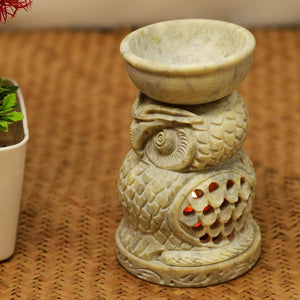 Handcrafted Soapstone Owl Design Tealight Holder