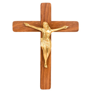 Sheesham Wood Jesus Christ Cross With Brass Statue (15x11 Inch)