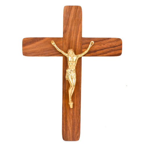 Sheesham Wood Jesus Christ Cross With Brass Statue (11x8 Inch)