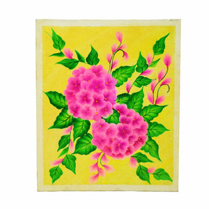 Handmade Colorful Floral Design Painting With Acrylic Colours On Canvas