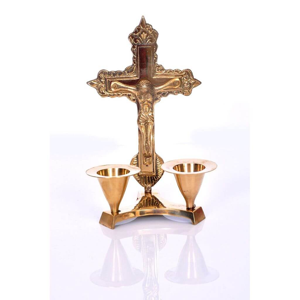 Jesus Cross Candle Stand - Candlestick Holder Made of Brass for Christmas