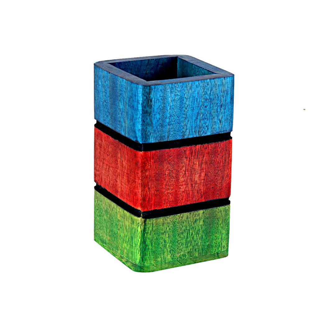 Wooden Pen Stand, Pencil Holder in Colorful | 2x2 Inch