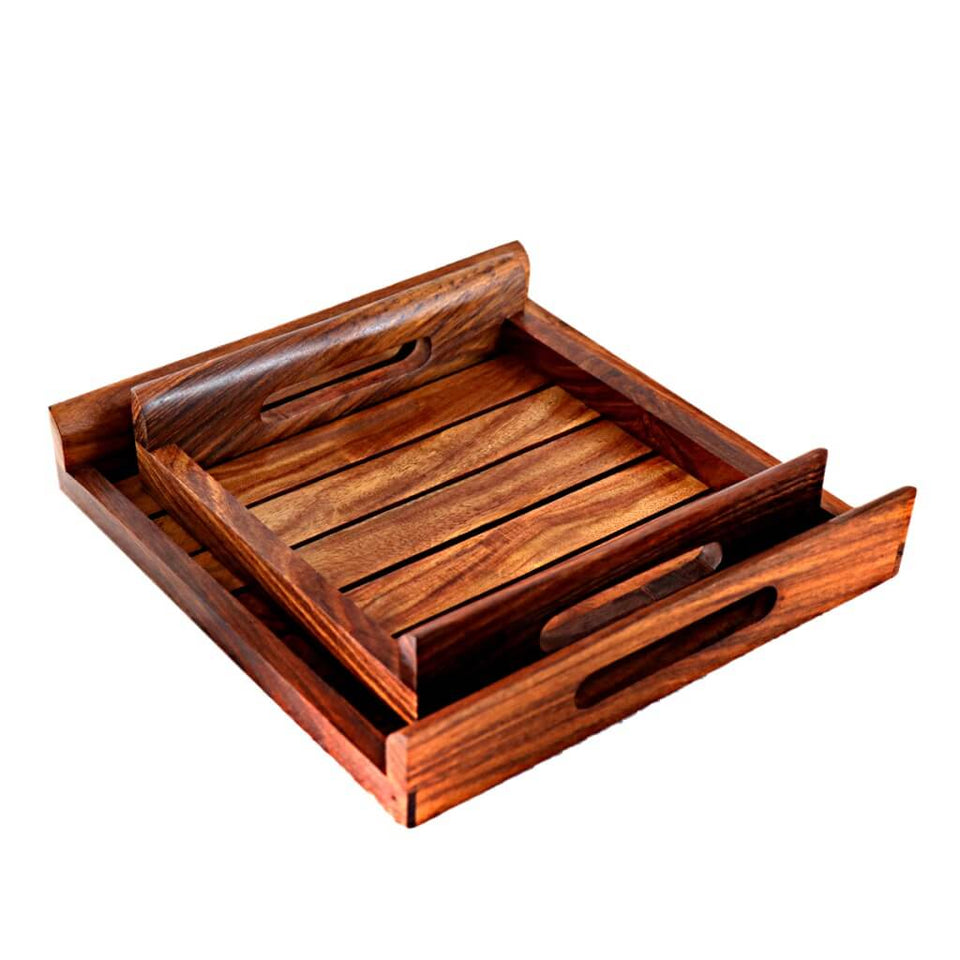 Handmade Wooden tray set made up of sheesham wood ( Set of 2 )