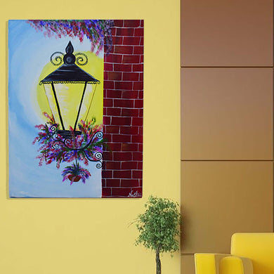 Handmade Beautiful Lamp, Flower & Wall Painting Made With Acrylic Colour On Wooden Framed Canvas