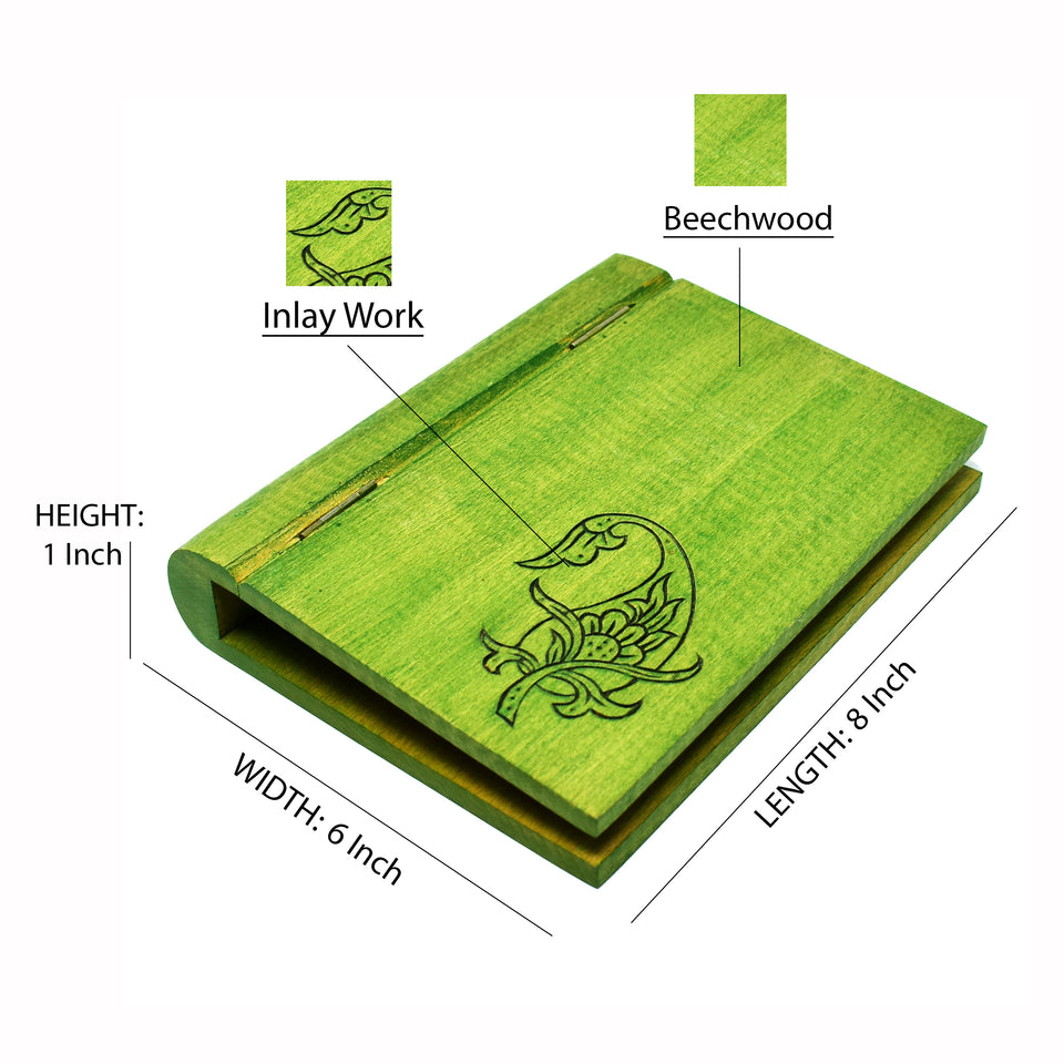 Paper Organizer A5 Paper Size Clipboard with Cover in Beechwood & Inlay Work (Green)