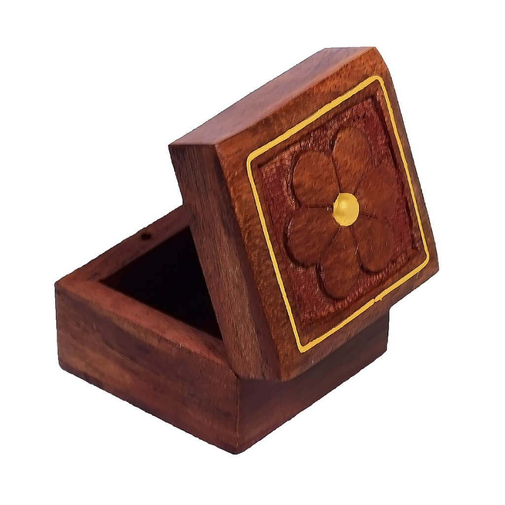 Flower Design Wooden Ring Box for Gift/ Storage