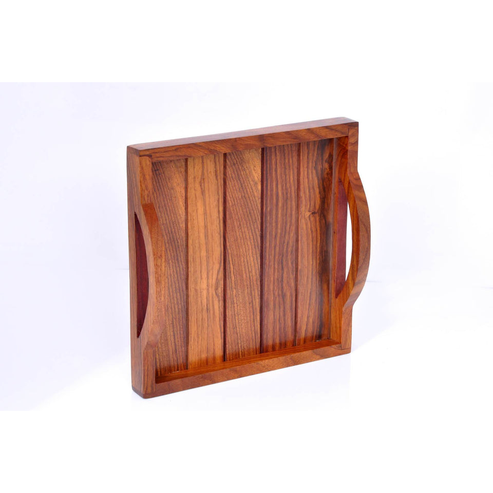 Handcrafted Wooden Serving Tray For Dining Table (8x8 inch)