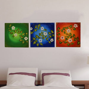 Handmade Flower Painting With Acrylic Colours On 3 Piece Canvas