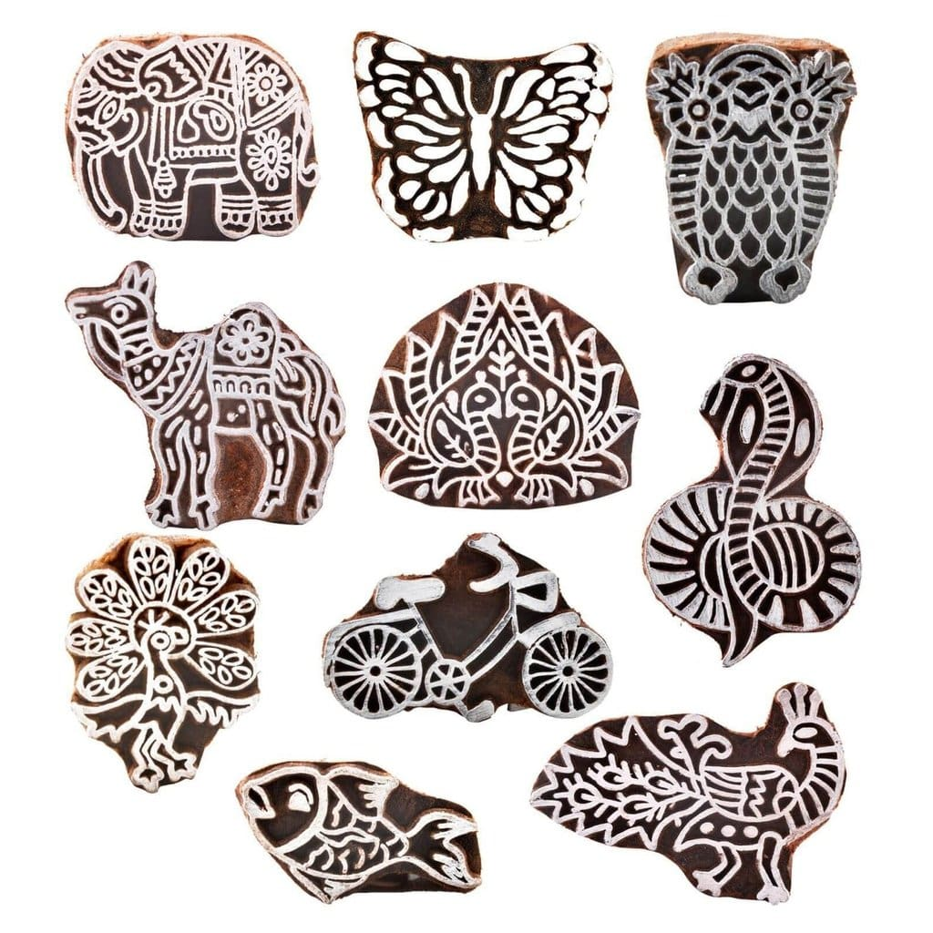 Animal Shaped Crafts Wooden Blocks - Printing Stamp