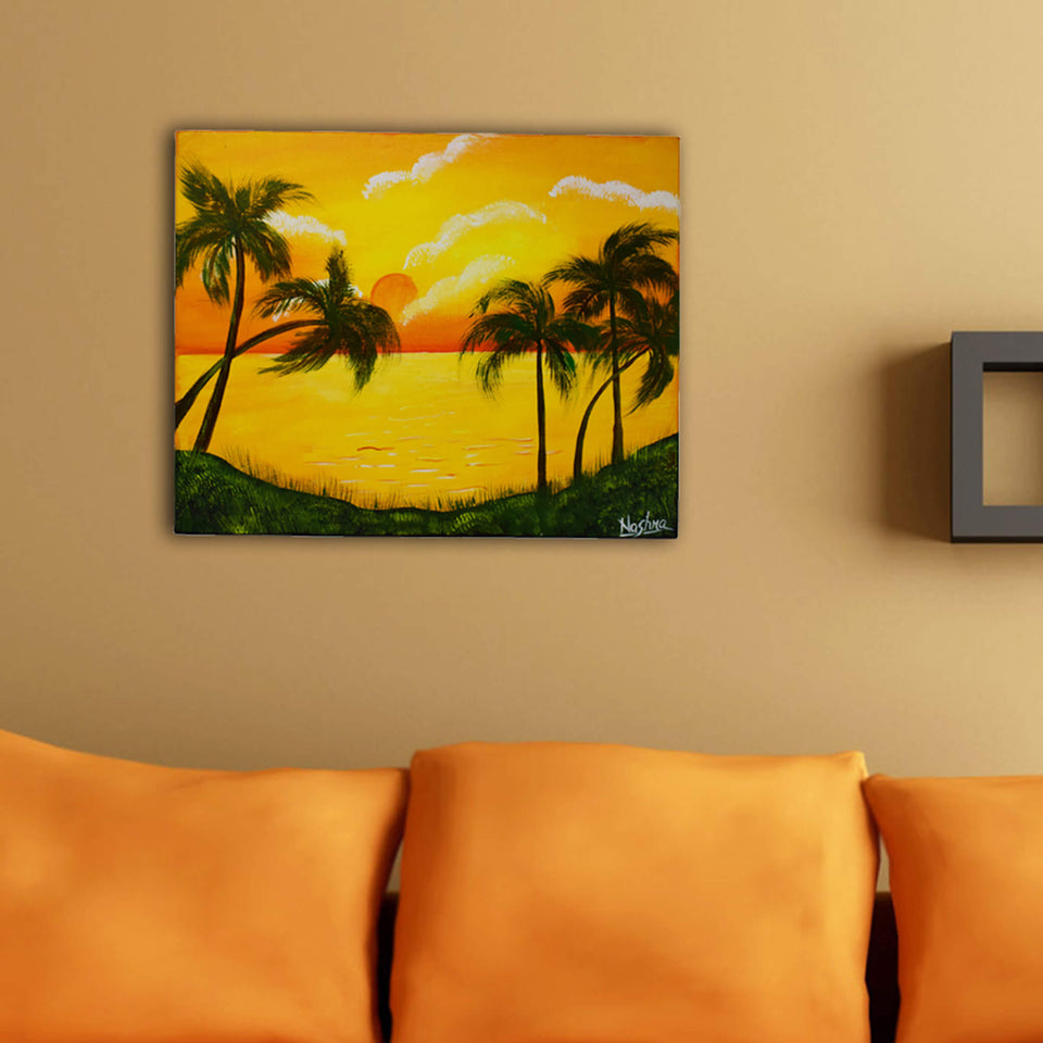 Handmade Sunset View Painting Made by Acrylic Colors on Canvas with Wooden Frame