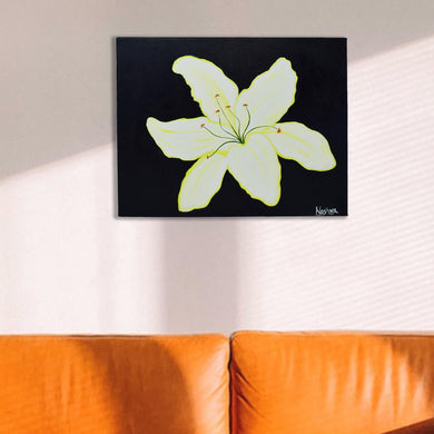 Hand Painted Lily Flowers Acrylic Painting On Canvas Frame