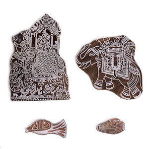 Elephant Pattern Wooden Printing Stamp (Set of 4)