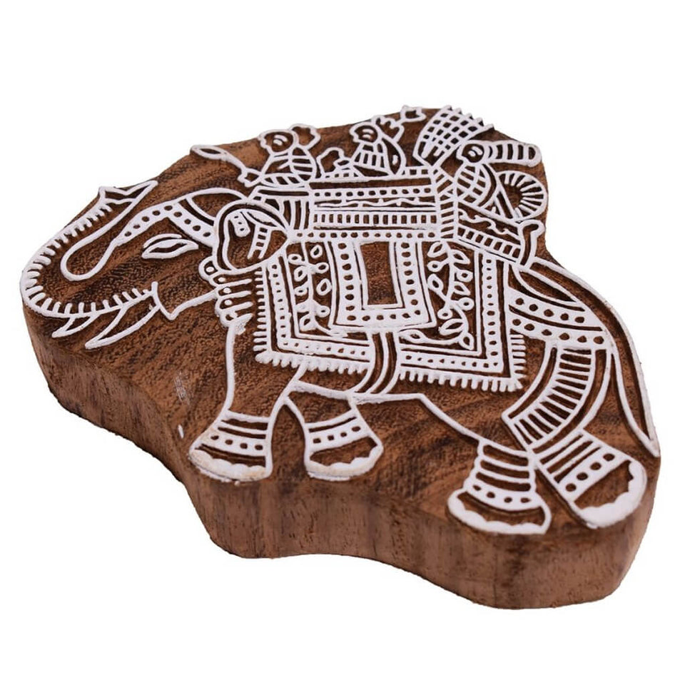 Elephant Pattern Mughal Design Wooden Printing Stamp