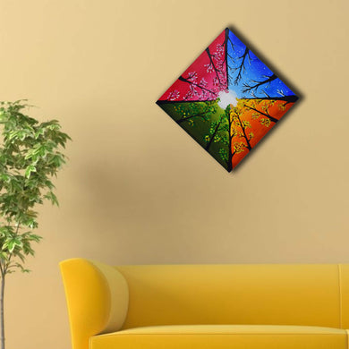 Handmade Modern Flower Painting Made by Acrylic Colors on Canvas with Wooden Frame