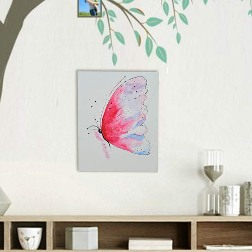 Hand Painted Colorful Butterfly With Acrylic Colours On Canvas With Wooden Frame