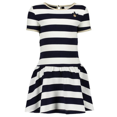Lè Chic - Navy & Cream Striped Dress