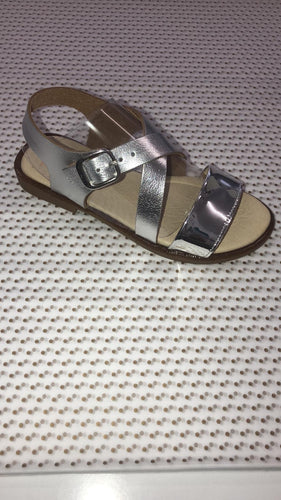Two Tone Silver Buckle Sandal