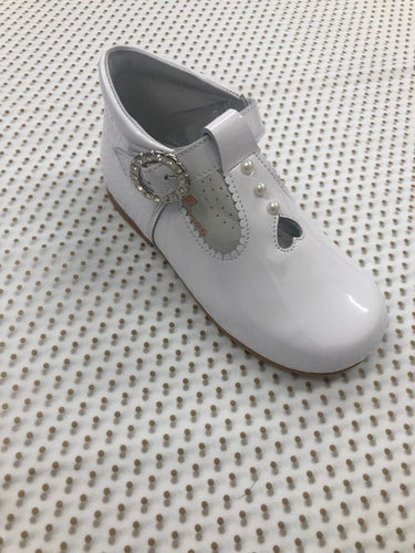 White pearl detail and diamante buckle shoe