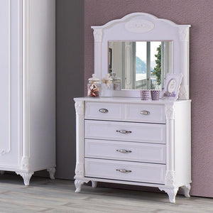 ANGEL 5-Drawer Kids Drawer Chest with Mirror (HL-2541 + HL-2551)